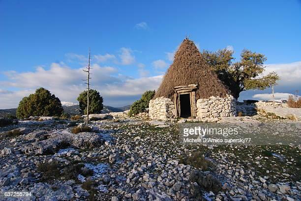 Wooden traditional shepherd's hut in Sardinia