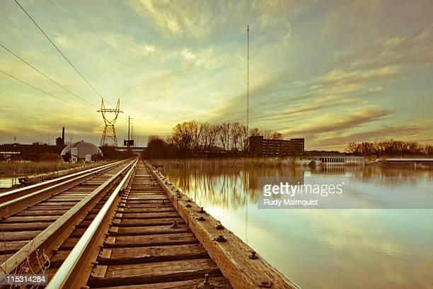 Wooden train bridge crossing Grand River