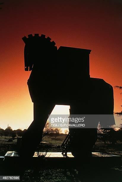 Wooden Trojan horse at sunset Hisarlik Turkey
