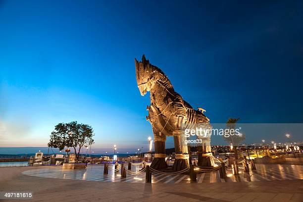 legno cavallo di troia - cavallo di troia foto e immagini stock