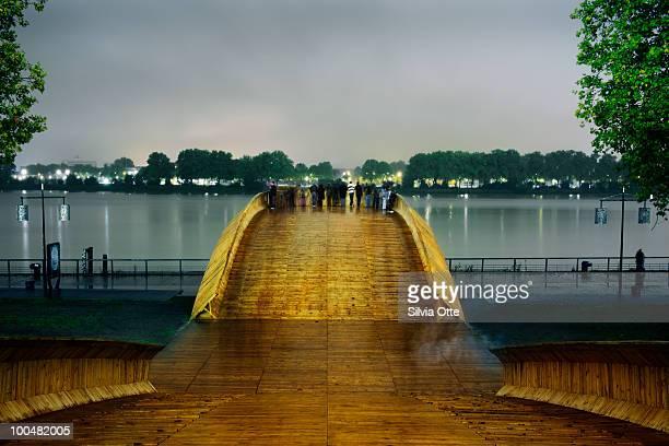 wooden viewing platform at night