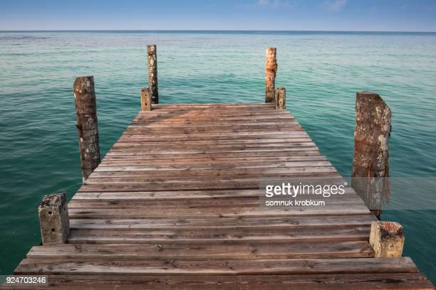 Wooden walkway and blue sea summer