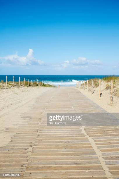 wooden walkway to the beach - gironde stock pictures, royalty-free photos & images