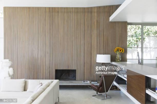 Mur en bois moderne de salle de séjour