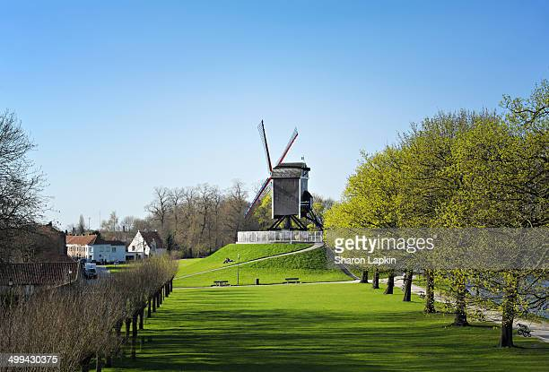 CONTENT] Wooden windmill on a green grassy hill on the outskirts of Bruges in early Spring