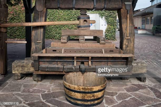 Wooden wine press,Eguisheim village,Alsace.