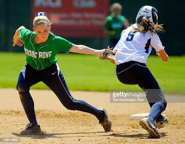 Woodgrove's Alayna Furr left tags out Abingdon's Taylor Blevins right as she tried to steal 2nd for the game ending 3rd out in the bottom of the 7th...