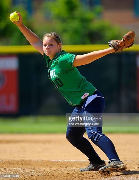 Woodgrove's Allie Reid is the winning pitcher as Woodgrove defeats Abingdon 3 1 in Virginia State AA girls softball semifinals at Radford University...