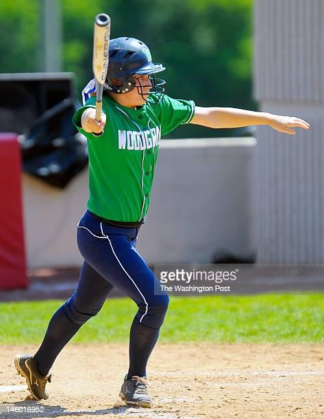 Woodgrove's Mackenzie Moler hits a 6th inning 2 run RBI as Woodgrove defeats Abingdon 3 1 in Virginia State AA girls softball semifinals at Radford...