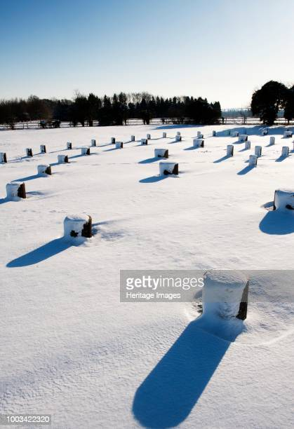 Woodhenge Amesbury Wiltshire after a heavy snowfall circa 1980circa 2017 Woodhenge is a Neolithic henge and timber circle located in the Stonehenge...