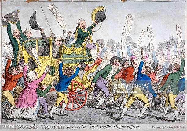 'A Woodin Triumph or a New Idol for the Ragamuffins' 1809 A crowd of labourers and beggars doffing their hats or drawing the Lord Mayor's coach...