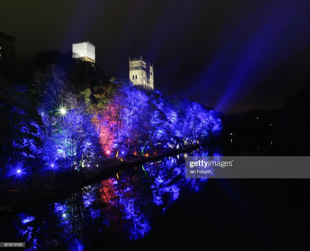 Woodland surrounding the historic Durham Cathedral is illuminated by a light installation during preparations ahead of the Durham Lumiere event on November 14, 2017 in Durham, England. The installation was inspired by the tradition of English change ringing. The Lumiere light festival is the UK's largest light festival and comes to the City of Durham for the fifth time bringing large scale projections and light installations across the city to landmark locations.