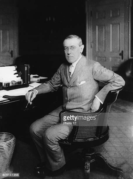 Woodrow Wilson, 28th President of the United States of America throughout the First World War._Suffered a severe stroke in October 1919 leaving him...
