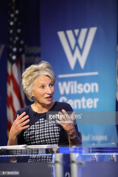 Woodrow Wilson Center President and CEO Jane Harman hosts a discussion with US Homeland Security Secretary Kirstjen at the center in the Ronald...