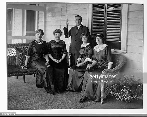 Woodrow Wilson during his tenure as Governor of New Jersey and his family From left to right daughter Jessie wife Ellen Louise the governor and...