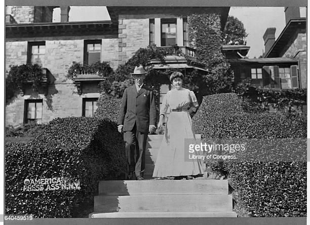 Woodrow Wilson Outside Home with Wife Ellen