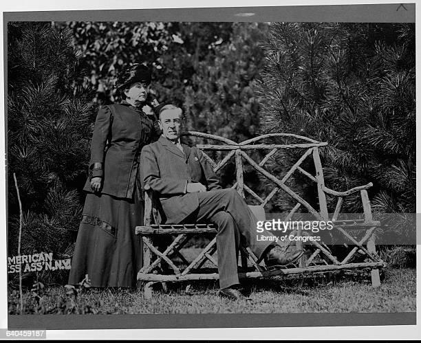 Woodrow Wilson Relaxing Outside with Wife Ellen