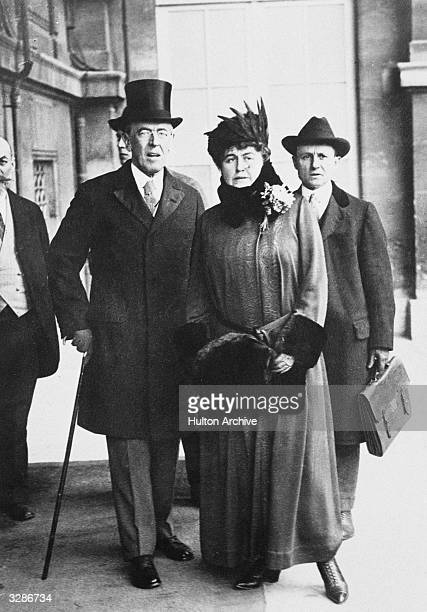 Woodrow Wilson the 28th President of the United States with his wife Edith at the Versailles Peace Conference. The senate later rejected the Treaty...