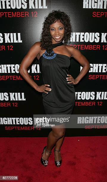 D Woods attends the New York premiere of 'Righteous Kill' at the Ziegfeld Theater on September 10 2008 in New York City