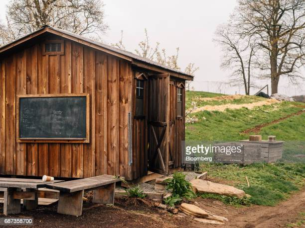 A woodshed stands at the Stone Barns farm in Pocantico Hills New York US on Friday April 21 2017 As customers are increasingly demanding freerange...