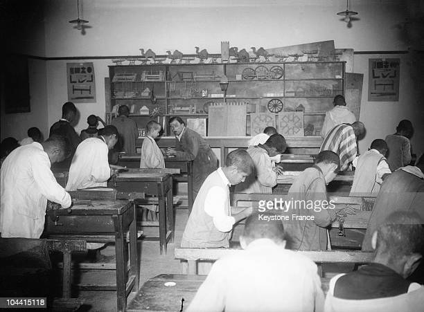 A woodshop class in a French school of Casablanca on October 31 1935