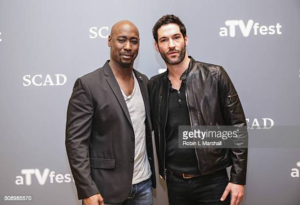 Woodside and Tom Ellis attend the 'Lucifer' event aTVfest on February 7 2016 in Atlanta Georgia
