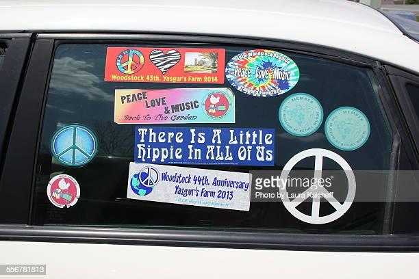 woodstock stickers - bumper sticker stock photos and pictures
