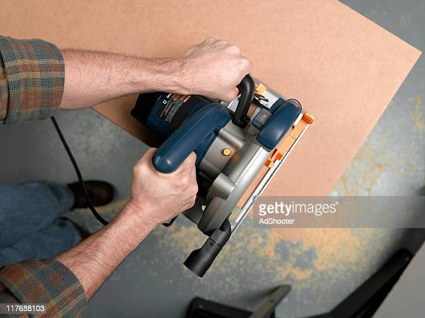 woodworker - circular saw stock photos and pictures