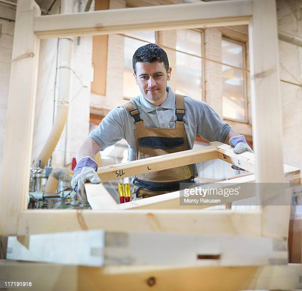 Woodworker with window frames
