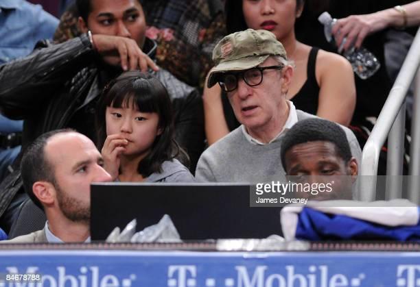 Woody Allen and daughter Bechet Dumaine Allen attend Boston Celtics vs New York Knicks game at Madison Square Garden on February 6 2009 in New York...