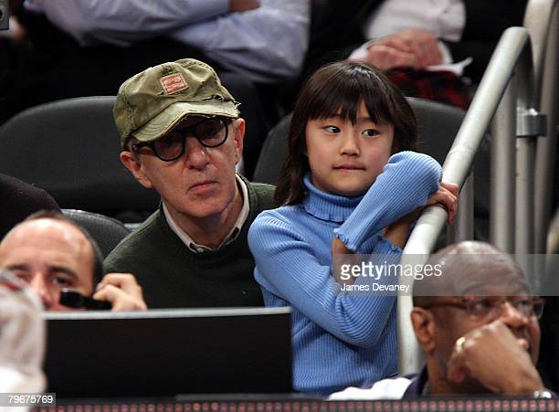 Woody Allen and daughter Bechet Dumaine Allen attend San Antonio Spurs vs NY Knicks game at Madison Square Garden in New York City on February 8 2008