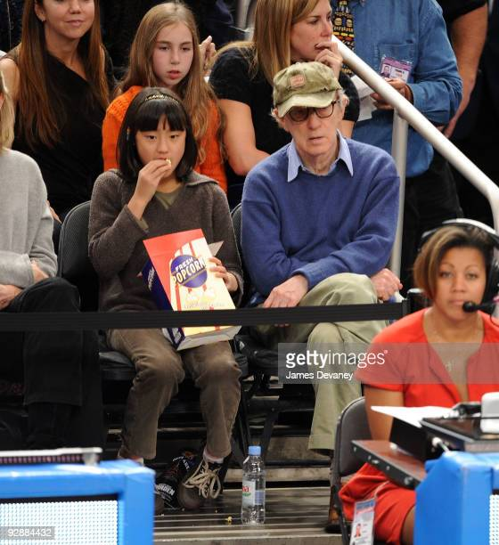 Woody Allen and daughter Bechet Dumaine Allen attend the Cleveland Cavaliers Vs New York Knicks at Madison Square Garden on November 6 2009 in New...