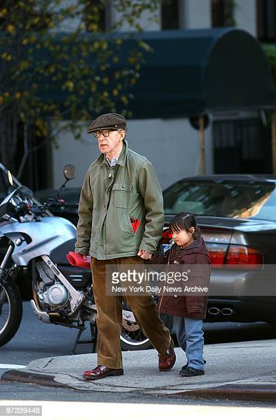 Woody Allen and daughter Bechet Dumaine Allen leave the 92nd St Y where the girl attends nursery school