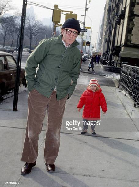Woody Allen and daughter Dylan O'Sullivan Farrow during Woody Allen and His Daughter Dylan Sighting in New York City November 12 1988 at Manhattan in...