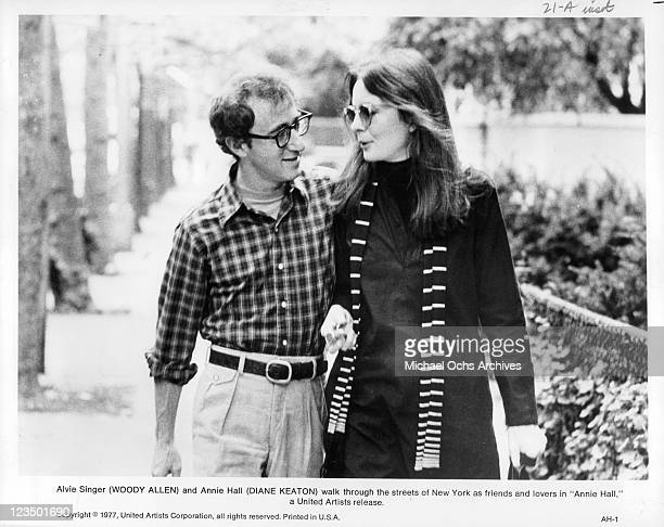 Woody Allen and Diane Keaton going for a walk in a scene from the film 'Annie Hall' 1977