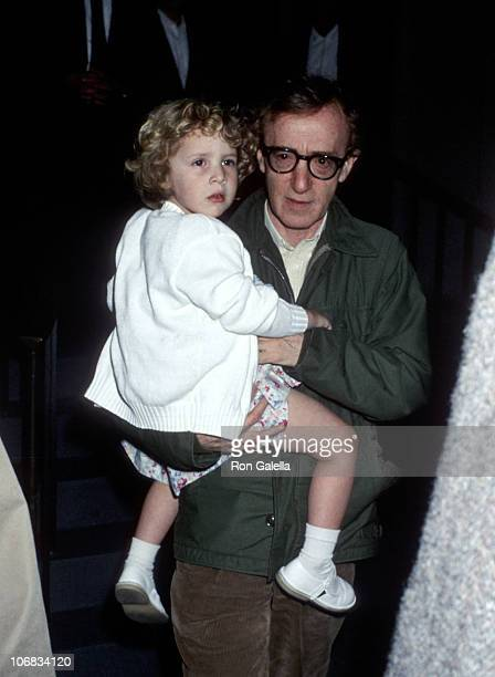 Woody Allen and Dylan O'Sullivan Farrow during Mia Farrow and Woody Allen Sighting at Her Apartment in New York City May 2 1989 at Mia Farrow's...