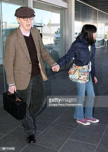 Woody Allen and his daughter Bechet Dumaine Allen arrive at El Prat Airport on March 29 2010 in El Prat de Llobregat Spain