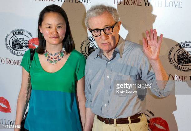 Woody Allen and his wife Soon-Yi Previn pose during the 'To Rome With Love' Paris Premiere at Mk2 Bibliotheque on June 25, 2012 in Paris, France.