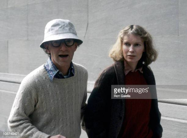 Woody Allen and Mia Farrow during Woody Allen and Mia Farrow Sighting in New York City October 1 1984 in New York City New York United States