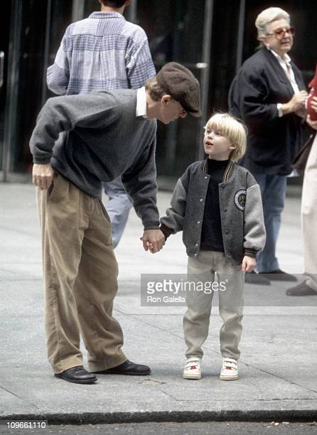 """Woody Allen and son Satchel O'Sullivan Farrow during Julia Roberts on Location for Woody Allen's """"Everyone Says I Love You"""" - October 8, 1995 at 6th..."""
