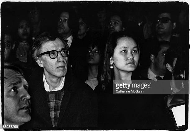 Woody Allen and Soon Yi Previn at a fashion show in 1996 in New York City, New York.