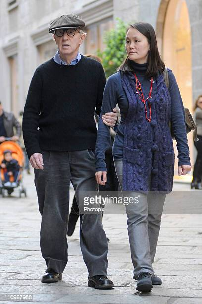 Woody Allen And Soon-Yi Previn are seen on March 28, 2011 in Milan, Italy.
