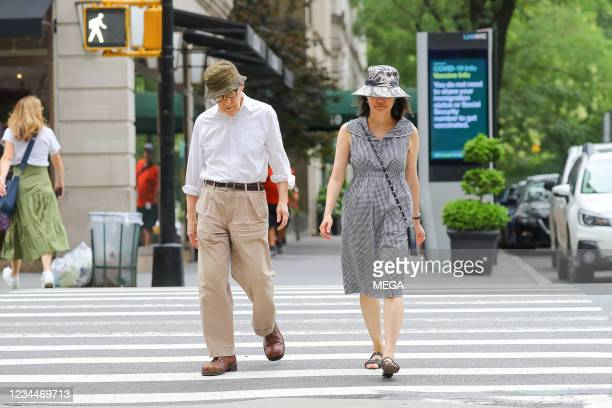 Woody Allen and Soon-Yi Previn are spotted walking on August 03, 2021 in New York City, New York.