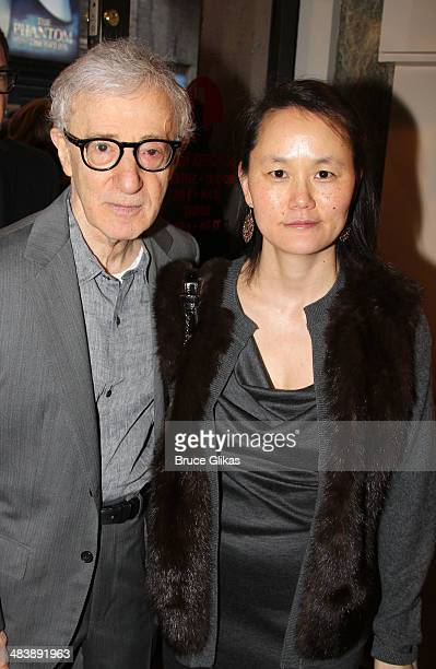 Woody Allen and SoonYi Previn attend the 'Bullets Over Broadway' opening night at St James Theatre on April 10 2014 in New York City