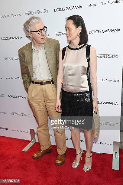 Woody Allen and SoonYi Previn attend the 'Magic In The Moonlight' premiere at the Paris Theater on July 17 2014 in New York City