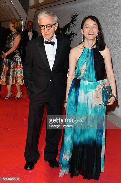 Woody Allen and SoonYi Previn attend the opening gala dinner during the annual 69th Cannes Film Festival at Palais des Festivals on May 11 2016 in...