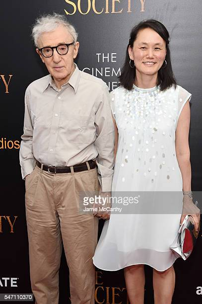 Woody Allen and SoonYi Previn attend the premiere of Cafe Society hosted by Amazon Lionsgate with The Cinema Society at Paris Theatre on July 13 2016...