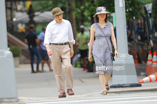 Woody Allen and Soon-Yi Previn spotted walking on August 03, 2021 in New York City, New York.