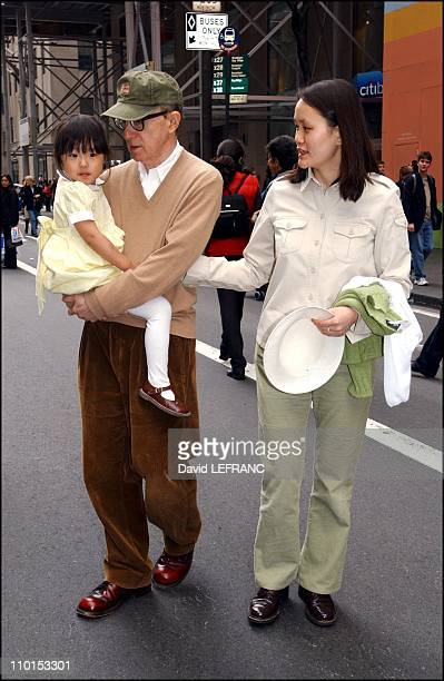 Woody Allen and wife Soon Yi Previn and their daughter at the Easter Parade in New York City United States on March 31 2002
