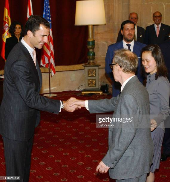Woody Allen and wife Soon Yi Previn attend an audience with Prince Felipe of Spain at the La Reconquista Hotel before Allen reveived his Prince of...